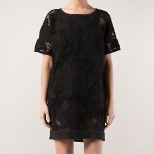 Isabel-Marant-Etoile-Dress-L-Black-Caty-Crochet-Knit-Tunic-Embroider-Women-620