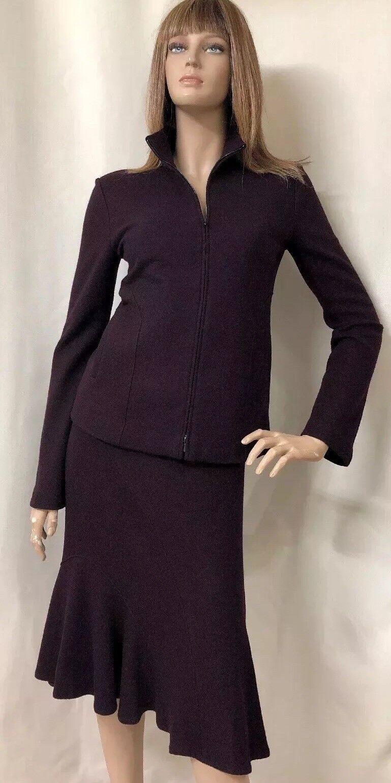 Lida Baday Women's Purple Blazer Skirt Suit 100% Wool 8  10 Fully Lined