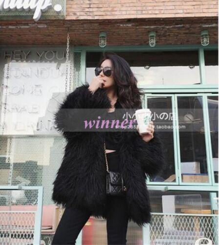 Womens Lamb Tibet Sheep Fur Real Fur Outwear Parka Overcoat Jackets Winter Coats