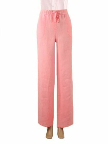Ex famous chainstore Ladies linen trousers MS coral New