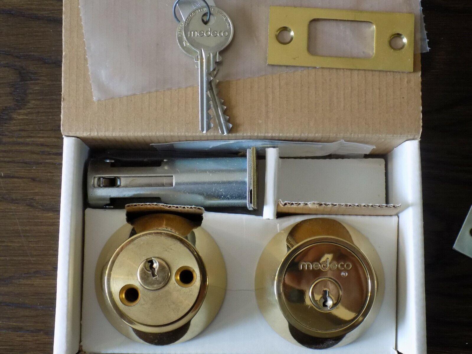 Lot of 3 Keyed Alike Medeco Maxum Double Cylinder Deadbolt -New - 2 3 8  B Set