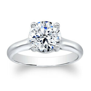 2.00 Ct Round Solitaire Moissanite Engagement Ring 18K Solid White Gold Size 7