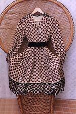 Vintage brown daisy floral flower 40s 50s style 70s boho gypsy midi dress S