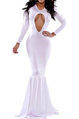 Women fashion White Allure Mermaid Bodycon Evening Gown LC6565 On sale Spring 2