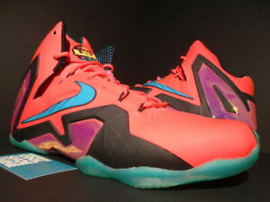 the latest b823d 84aff Image is loading NIKE-LEBRON-XI-ELITE-SUPER-HERO-LASER-CRIMSON-