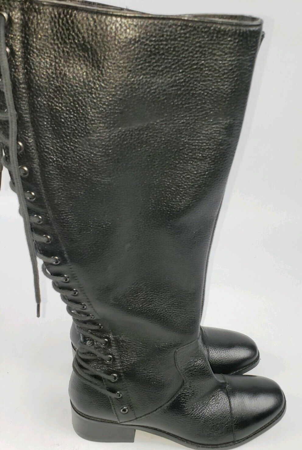 MADE IN  INDIA  nero  LEATHER LEATHER LEATHER UPPER  donna  stivali Dimensione 7  REAR BACK LACE 404840