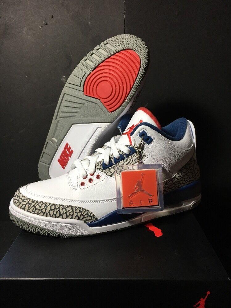 Nike Air Jordan 3 Retro OG Fire Red-True Blue 854262-106 Mens 8 9 9.5 10 10.5