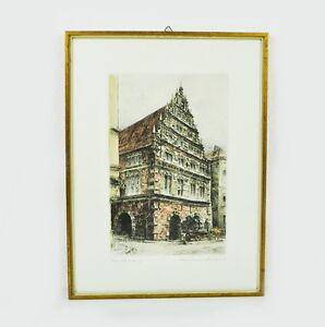 original radierung alte stadtwaage bremen von prof paul geissler 1920 ebay. Black Bedroom Furniture Sets. Home Design Ideas
