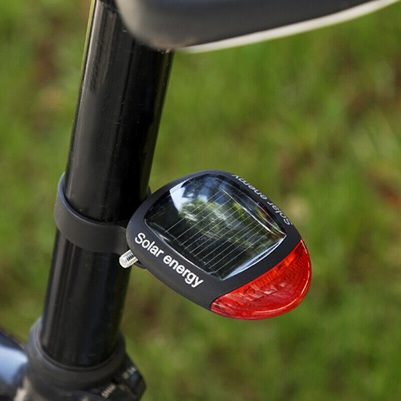 Bicycle Solar Headlight Warn Tail Light Rechargeable Safe Bike Rear Lamp RF
