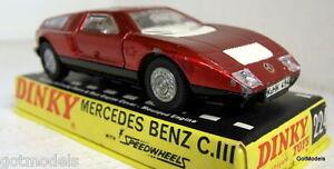 DINKY-TOYS-224-MERCEDES-BENZ-C-111-VINTAGE-ROSSO-pressofusione-modello-auto-BOX-CASE