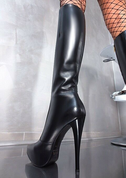 LEDER HOHE STIEFEL STIEFEL STIEFEL PLATEAU 1969 ITALY BOOTS A47 SCHUHE TOP LEATHER HIGH HEELS 40 f13a8c