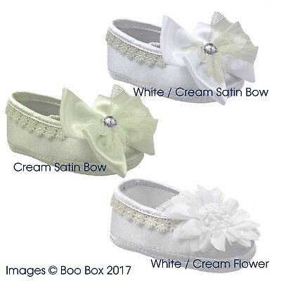 Responsible Baby Girls Soft Sole Satin Bow Flower Pram Shoes White Ivory 0-12 Months