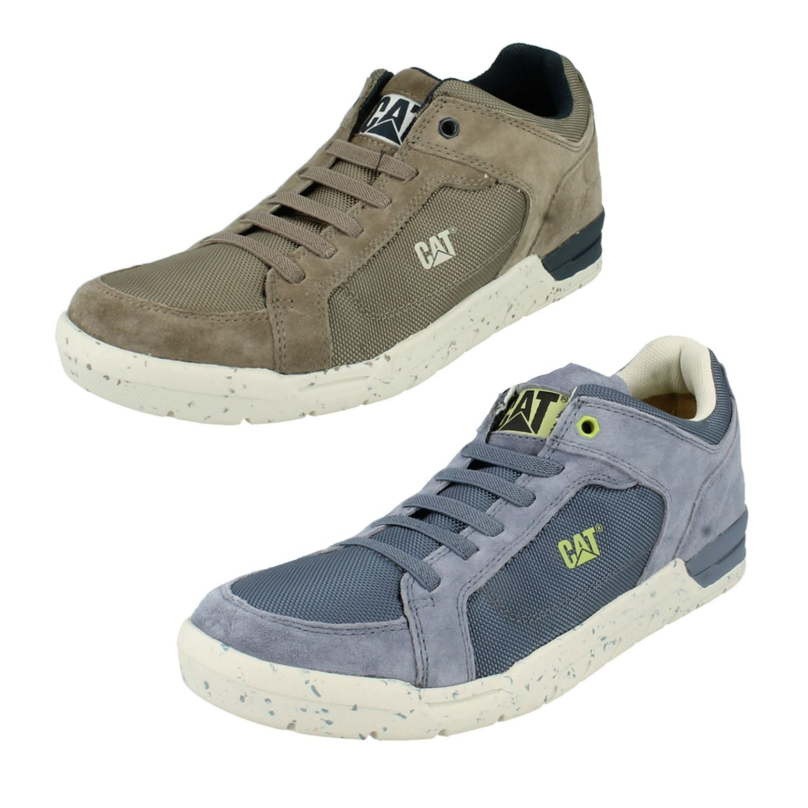 Mens Blue / Grey Leather Elasticated Lace Caterpillar Trainers Indent