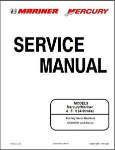 mercury mariner outboard 4 5 6hp 4 stroke oem service shop repair rh ebay co uk mercury mariner repair manual mercury mariner repair manual