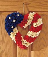 13 Americana Patriotic Handcrafted Willow Rose Petal Heart Door Wall Wreath