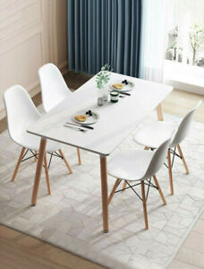 Retro-Dining-Table-and-Chairs-4-Set-Wooden-Legs-Room-Kitchen-Lounge-Chair-White
