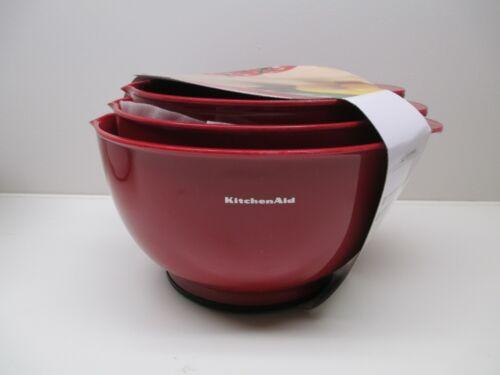 KitchenAid set of 3 plastic mixing bowls empire red or white or multi aqua