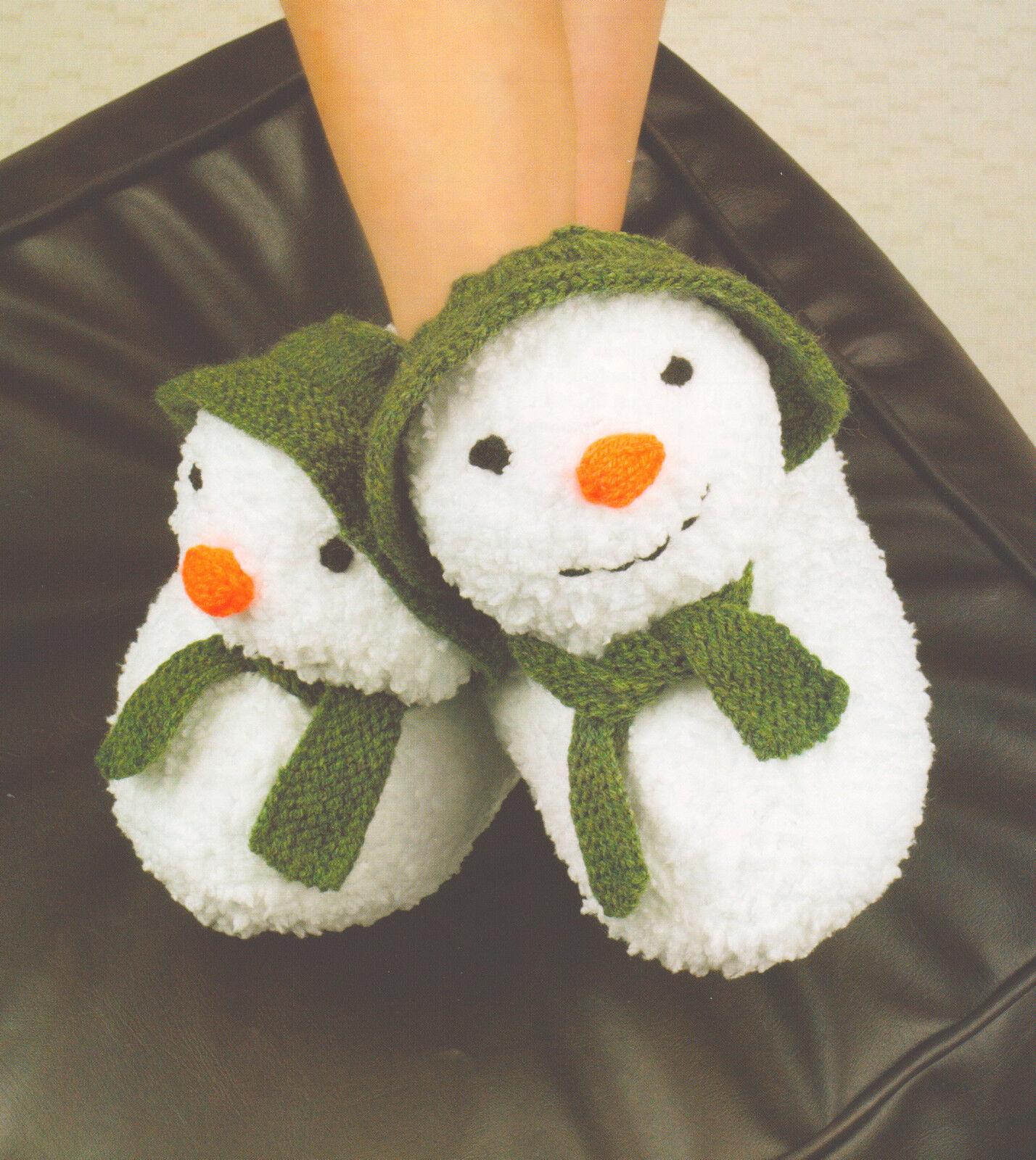 Snowman Cushion Knitting Pattern : Snowman Slippers Children/ Adult DK Knitting Pattern Great Xmas Pressie ! eBay