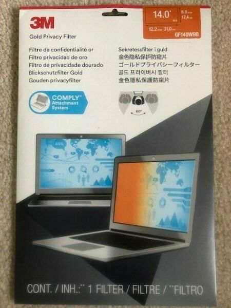 "Brand New 3m Gf140w9b Gold Privacy Filter: 14"" Widescreen Laptop - For Notebook"