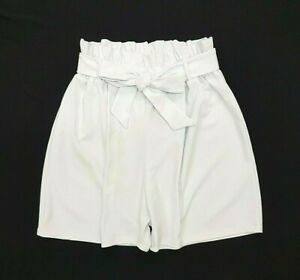 **new 2019 Look White Paperbag Plus Size & Curve High Waist Paper Bag Shorts**