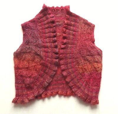 Aspirante Splendido Boho Mohair Lavorato A Maglia Gilet Grandi Aranciato Rosso Rosa Viola Folk-mostra Il Titolo Originale