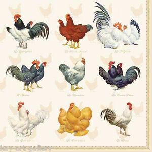 4 X Vintage Table Paper Napkins Chickens Decoupage