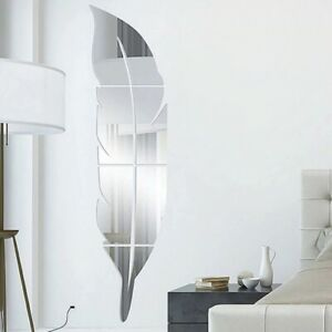 DIY Feather Plume 3D Mirror Wall Sticker for Living Room Art Home Decor