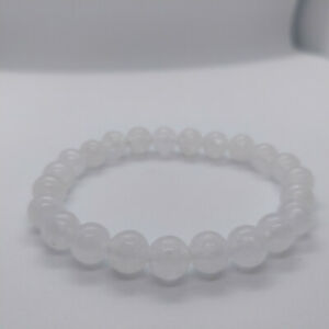Natural White Jade Top Grade Stretch Bracelet UK