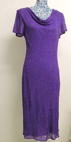 Inspirations  Purple Crepe Silk Embellished Gatsby Occasion Evening Dress UK 12