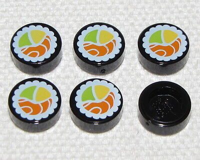 Lego Lot of 6 New Black Tiles Round 1 x 1 with Sushi Pattern Pieces