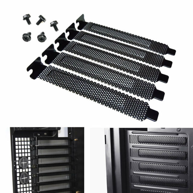 5x PCI Slot Cover Dust Filter Blanking Plate Hard Steel Black w/screws