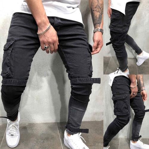 JEANS Uomo Slim Fit Jeans Pantaloni Stretch Denim Skinny Frayed Tempo Libero Biker Pantaloni