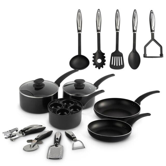 VonShef 15pc Aluminium Cookware Set Pans Kitchen Utensils Bundle Gadgets