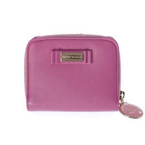 Emporio-Armani-Women-039-s-Pink-Small-Bi-Fold-Zip-Around-Wallet-YEWH46-475-NEW