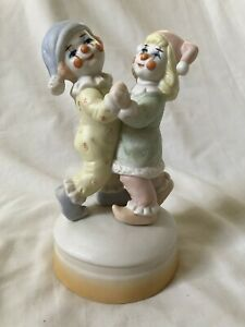 Vintage-Porcelain-Dancing-Clowns-Wind-up-Music-Box-Musical-Whistle-a-Happy-Tune