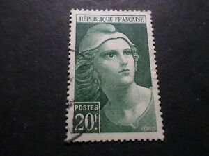 France-1945-47-Stamp-730-Marianne-Gandon-Seal-round-Obliterated-VF-Used-Stamp