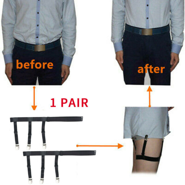 Mens Shirt Stays Holders Elastic Garters Belt with Non-slip Locking Clamps