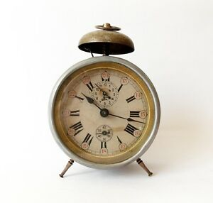 Antique 1910s Alarm clock Germany Vintage old desk table ...