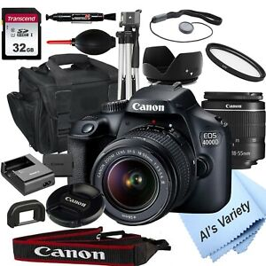Canon-EOS-4000d18-0mp-DSLR-Kamera-mit-18-55mm-Objektiv-32gb-18-PC-Bundle