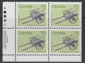 CANADA-1083-72-Artifact-Hand-Drawn-Cart-LL-Inscription-Block-MNH