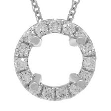 14K White Gold Round Semi Mount Diamond Halo Pendant Solitaire Setting 6.5-7mm