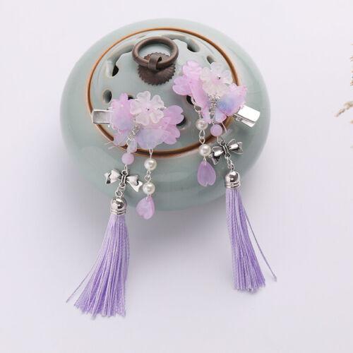 2 PC Retro girls Kids Butterfly Flower Tassel Hair pins for Kimono Hanfu Party