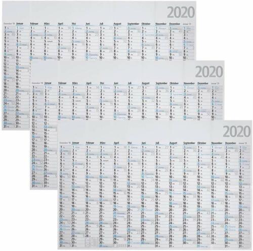 3 BRUNNEN Jahreswandplaner gefalzt 2020 102,0 x 68,0 cm