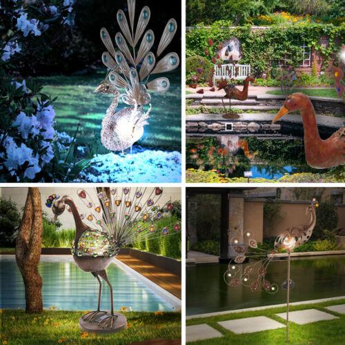 Außen LED Solar Pfau Figur Steh Stand Steck Lampe Dekor Steine Garten Veranda