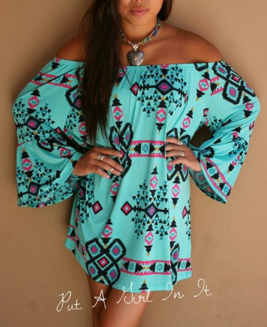 "PLUS SIZE OFF SHOULDER AZTEC TURQUOISE "" LOS LUNAS ""  MINI DRESS TUNIC 1X 2X 3X"