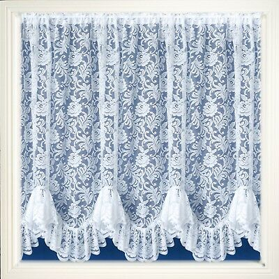 "Austrian Flounce Frilled Floral White Lace Net Curtain 2 Metres X 36"" Drop £9.95"