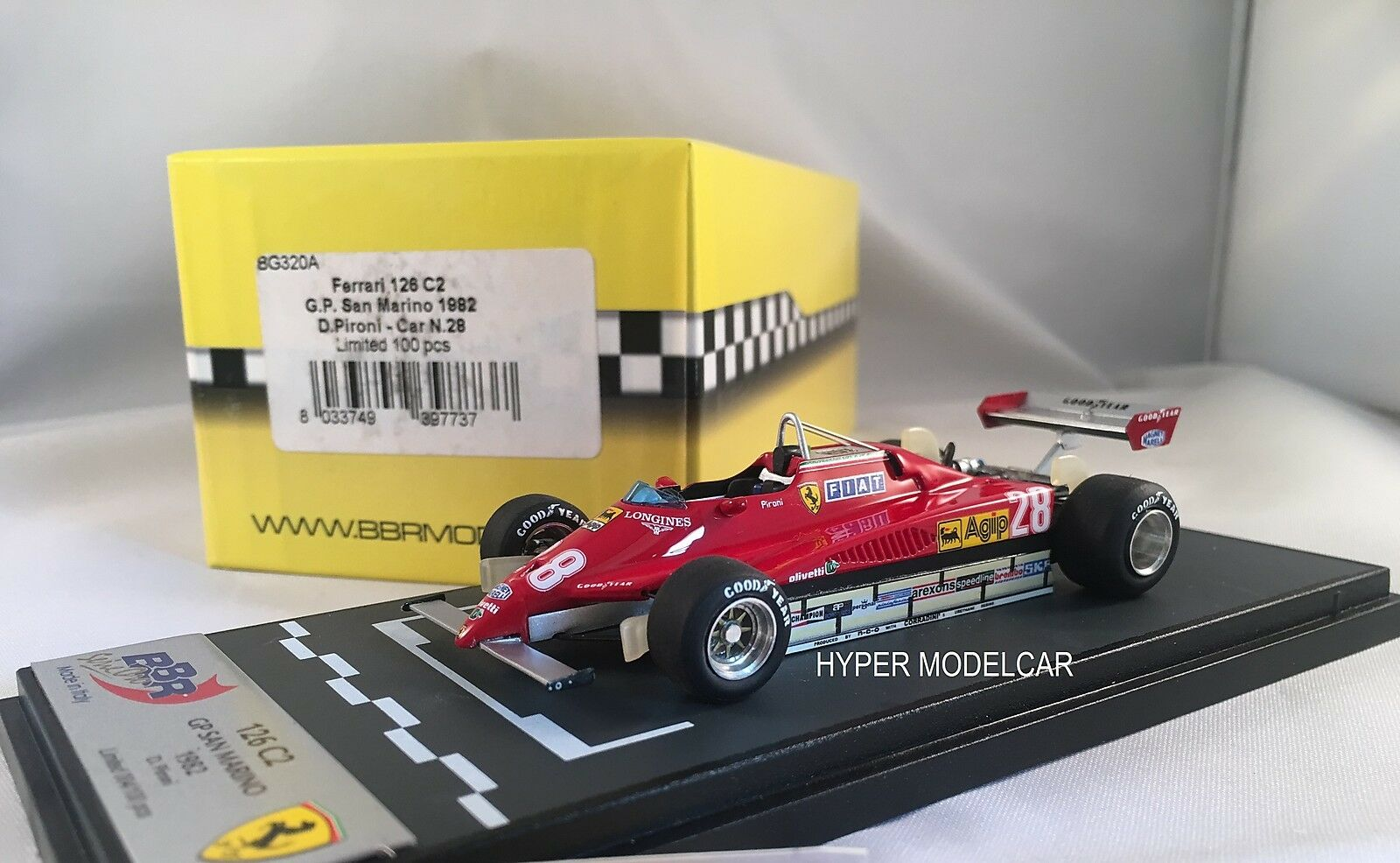 BBR MODEL 1 43 F1 Ferrari 126 C2  28 Gp San Marino 1982 D. Pironì Art. BG320A