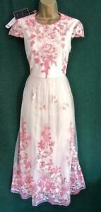 New-TED-BAKER-TUX-UK-8-10-Pink-Lace-EMBROIDERED-LILLE-Fit-amp-Flare-Midi-DRESS-TB-1