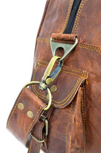 """Men/'s 16/"""" Brown Vintage Genuine Leather Weekend Travel Luggage Duffle Gym Bags"""