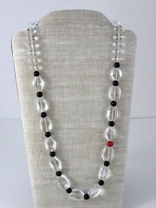 Vintage-Clear-Rock-Crystal-Quartz-Black-Onyx-One-Red-Bead-Strand-Necklace